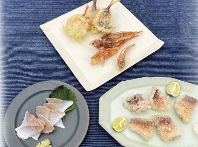 連子鯛の酢締め、ヒメの天ぷら、甘鯛の笠松焼き