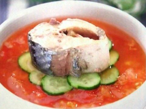 サバ缶トマト冷や汁